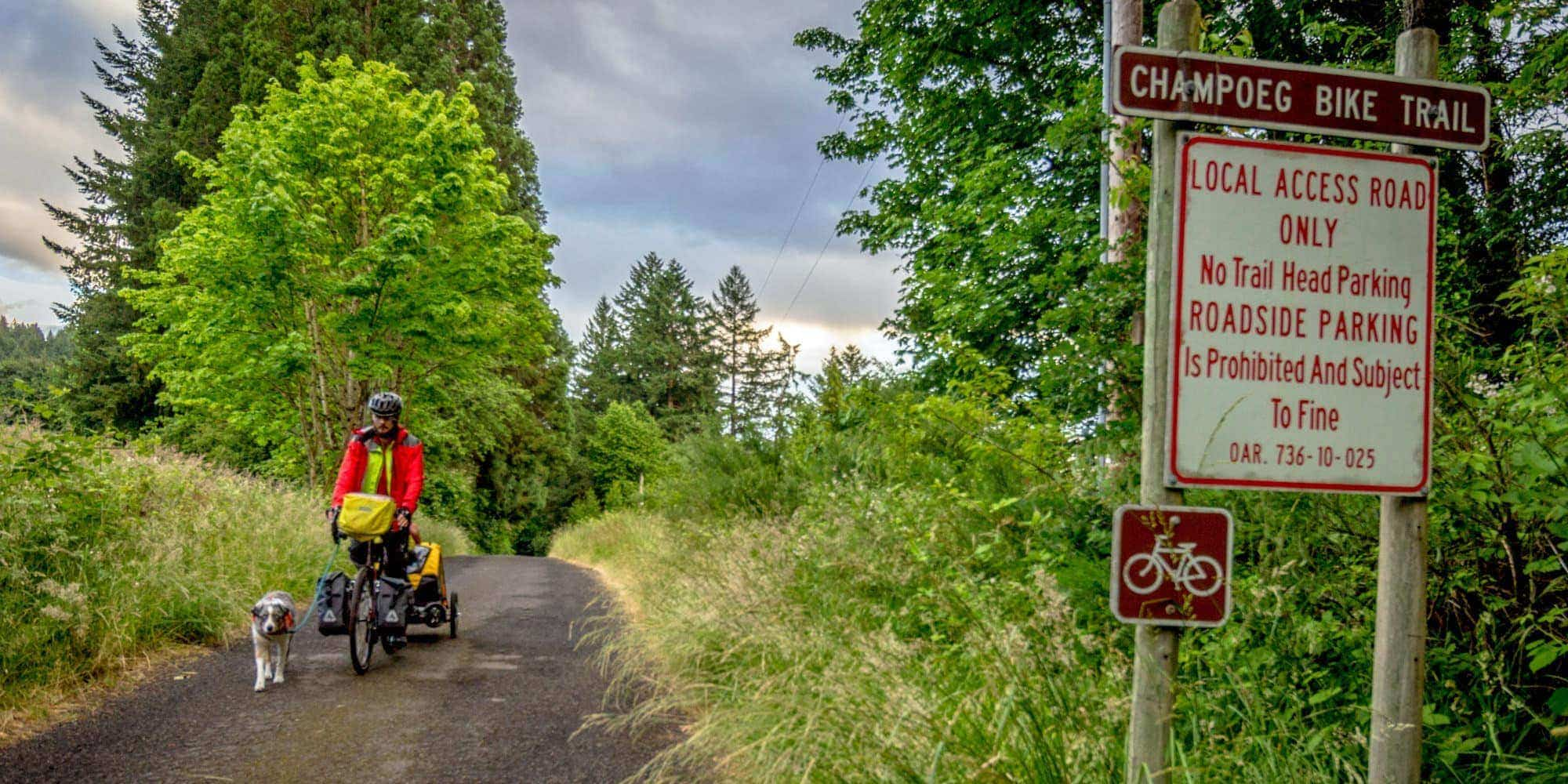 Cyclist in Champoeg Champoeg State Heritage Area on the Willamette Valley Scenic Bikeway