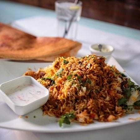 A plate of biryani, a mixed rice dish.