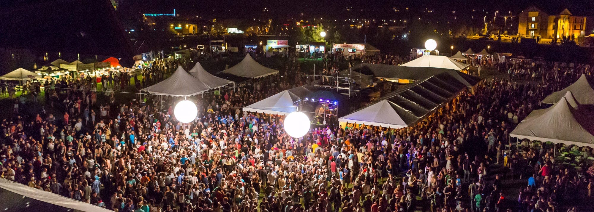 Aerial shot of Bend Brewfest at night