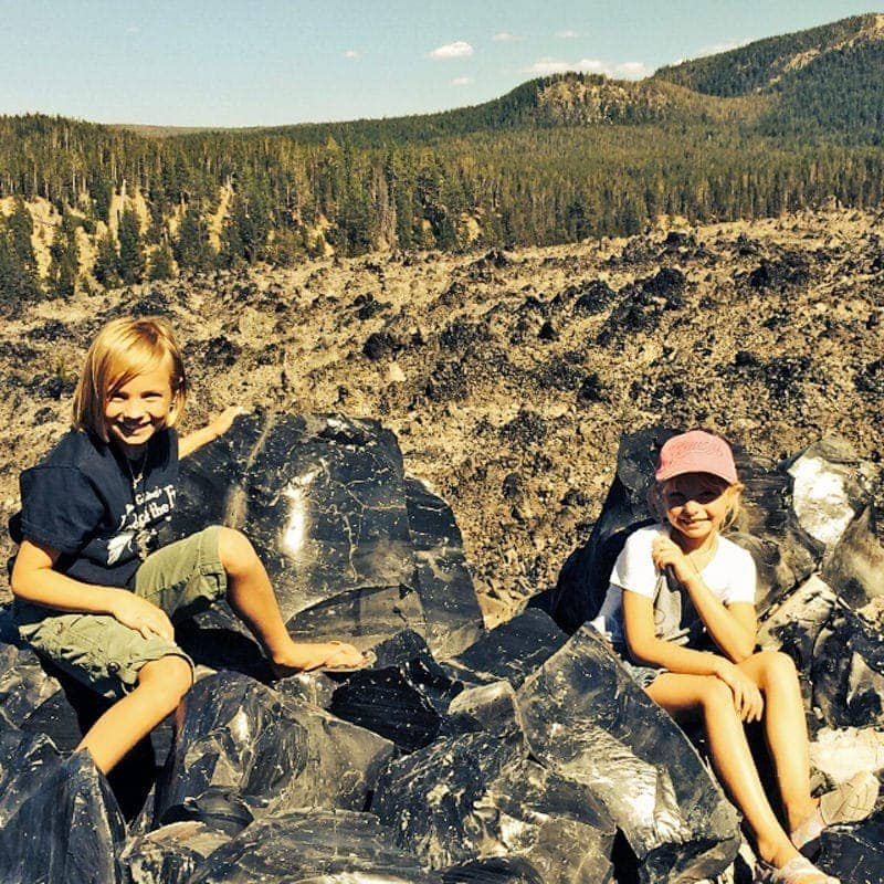 Kids at Big Obsidian Flow