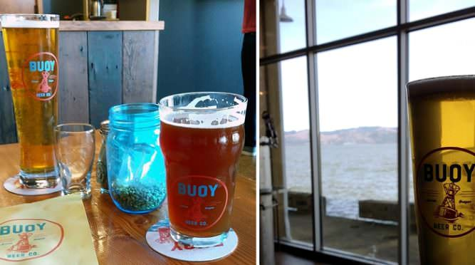 Pints at Buoy Beer in Astoria with water in background