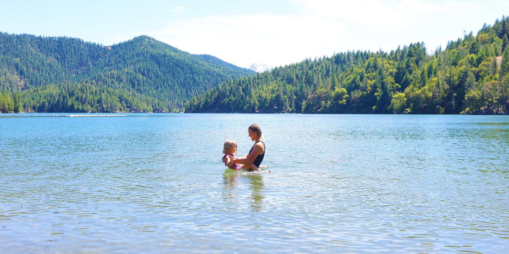 Mom and daughter in Applegate Lake