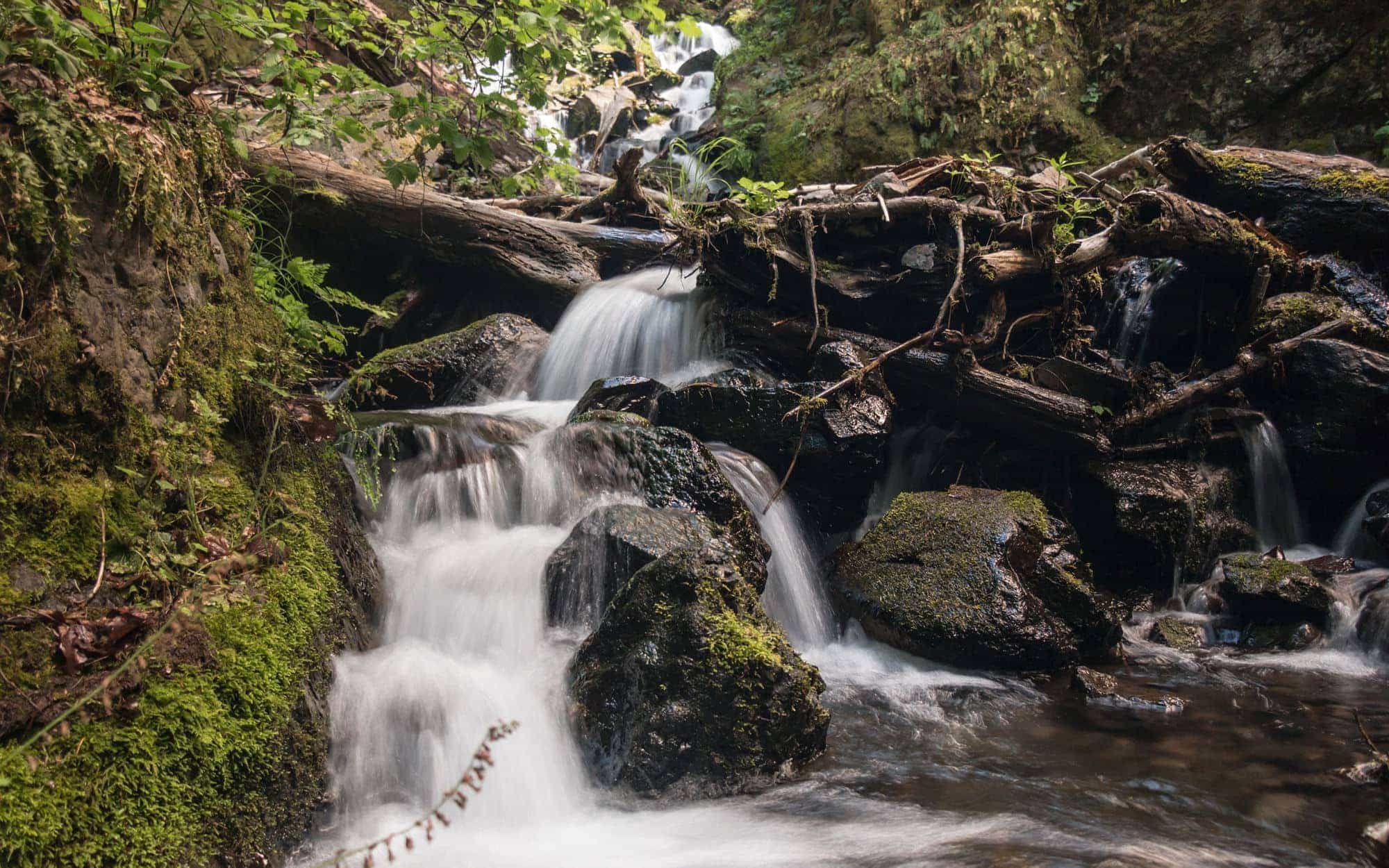 Starvation Creek Falls spilling into creek