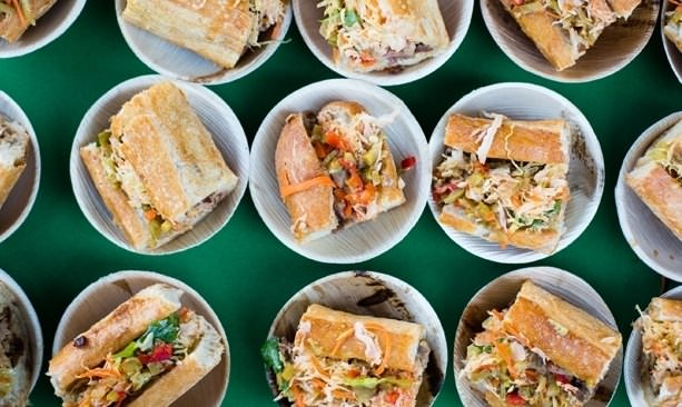 Plates of savory sandwiches at Feast Portland