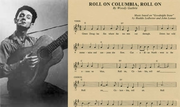 "Black and white photo of Woody Guthrie next to music sheet of ""Roll on, Columbia"""