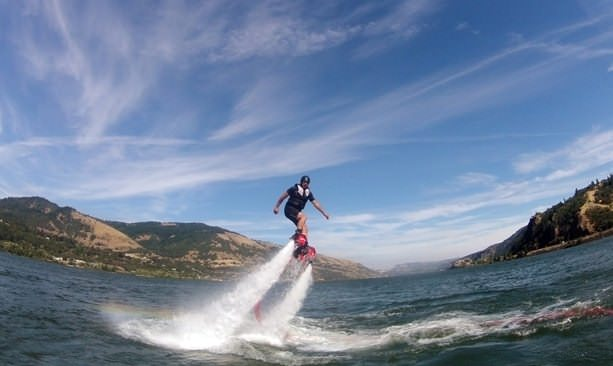 Man using flyboard above the Columbia River