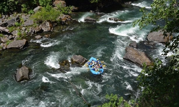 Rafters paddling down the Umpqua River