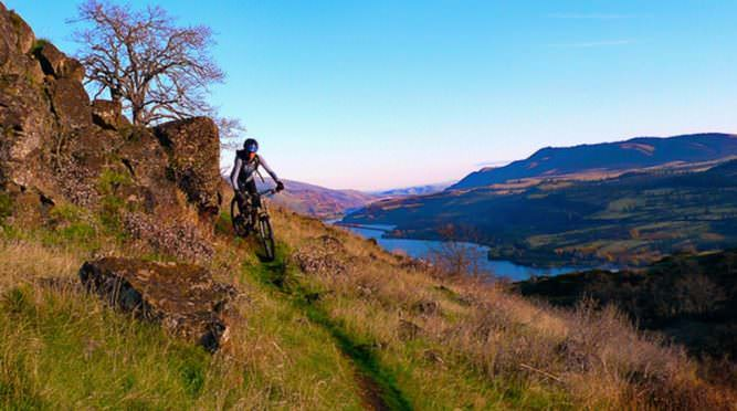 Mountain biker pedals along mountain ridge in Columbia River Gorge.