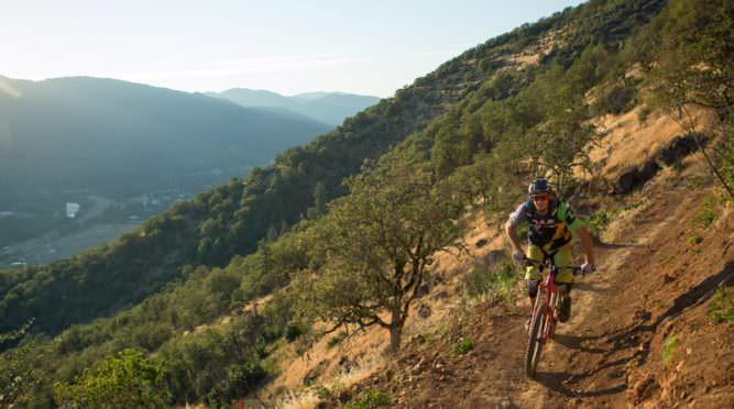 Mountain biker pedals down Arm Bar Mountain Bike Trail.