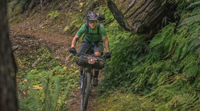 Mountain biker pedals through North Umpqua Trail.