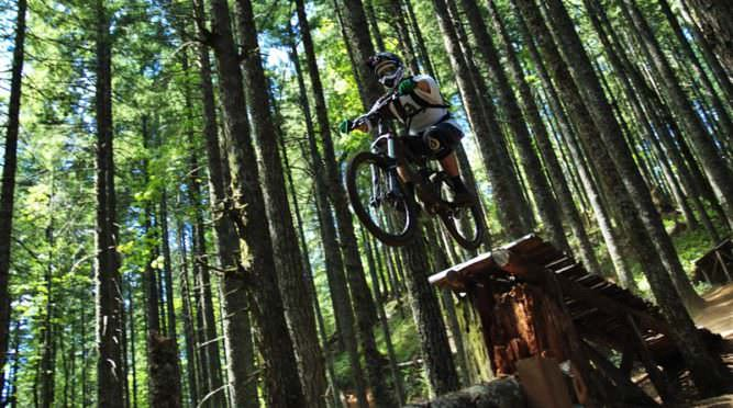 Mountain biker prepares for leap at Black Rock.