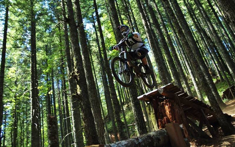 Mountain biker prepares for leap at Black Rock.