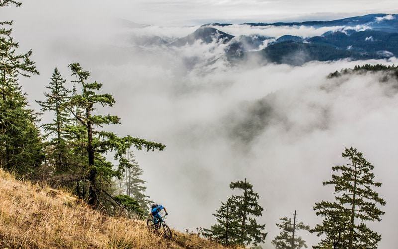 Fog over the valley makes a mountain biker look small.