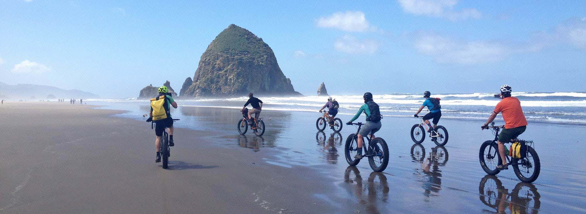 Fat biking on the coast, near Haystack Rock