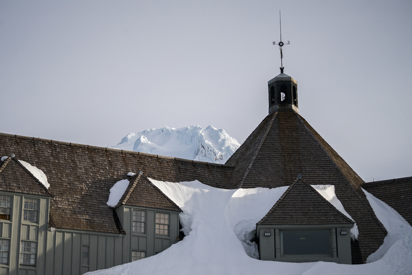 Timberline Lodge covered in snow Mt Hood Oregon