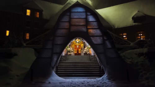 The Christmas tunnel into Timberline Lodge.