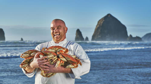 When he's not cooking, Chef Aaron Bedard is playing outside: foraging, fishing, crabbing and agate hunting. (Photo credit: Gregor Halenda)