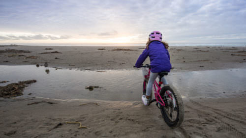 A young girl looks out on the beach from her fat bike.