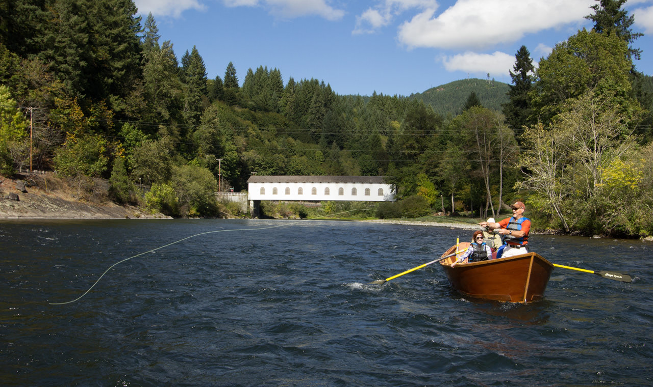 Drift-boat fishing on the McKenzie River with a covered bridge as a backdrop is unforgettable.