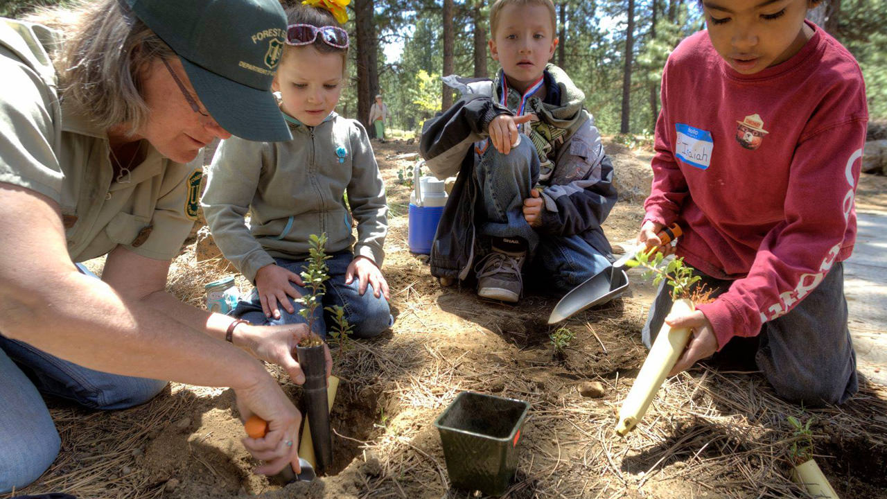 A ranger shows youngsters how to dig a hole for plants.