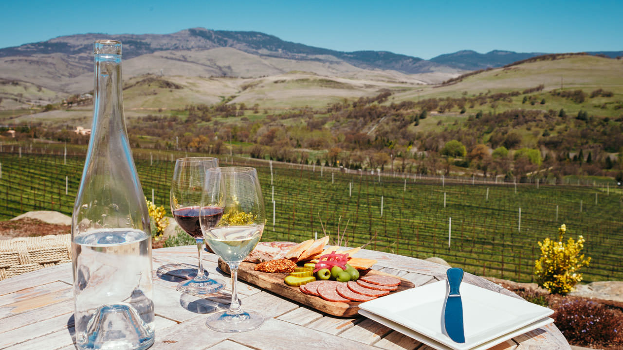 A charcuterie board and wines overlook the spring vineyard.
