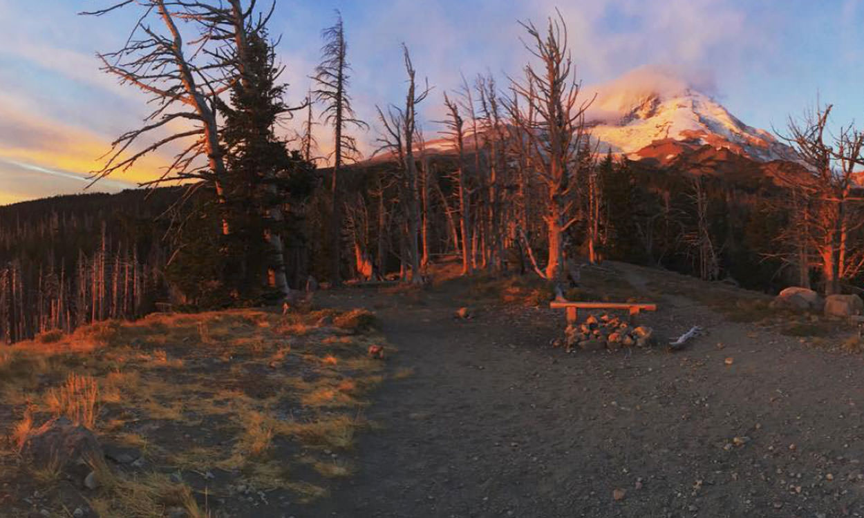 The Cloud Cap Saddle Campground offers close views of Mt. Hood.
