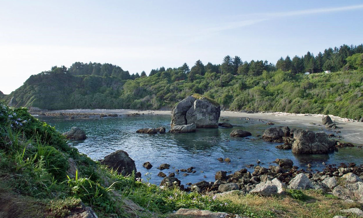 Rocky outcroppings offer a secluded cove setting.