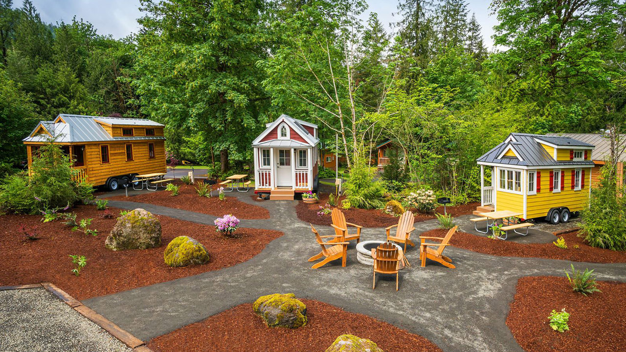 The community space of Mt. Hood Tiny House Village includes a fire pit and seating area.