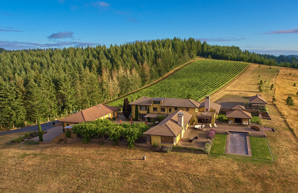 A bird's-eye view of Iris Vineyards shows the charming winery adjacent to fields and trees.