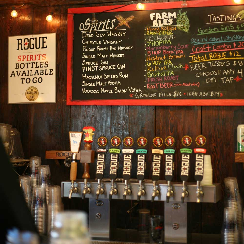 A sizable tap list entices beer lovers at Rogue Ales.