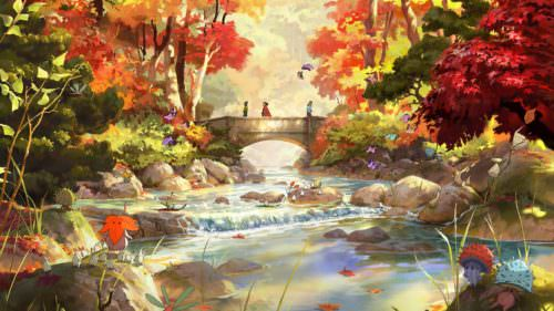 An illustration of Lithia Park in the fall in Ashland Oregon