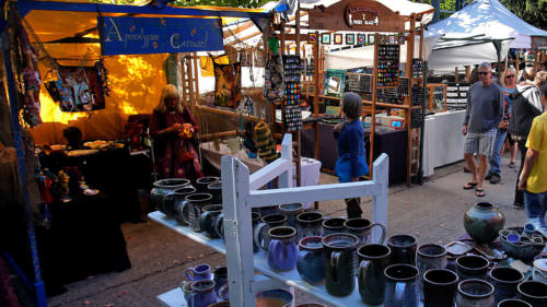 A pottery booth, tie dye and more can be found at the Eugene Saturday Market.