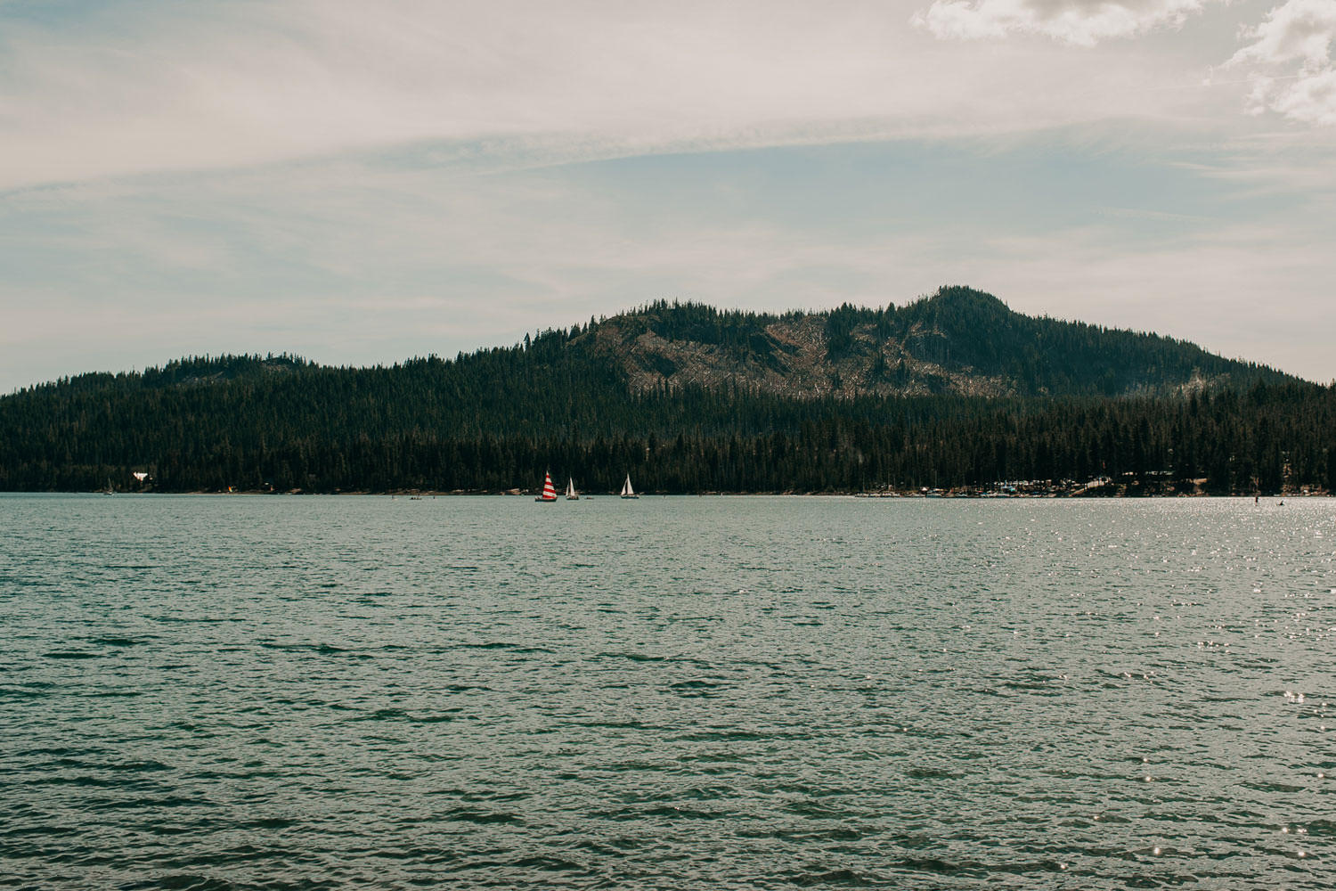 Sail boats look tiny on the large Elk Lake.