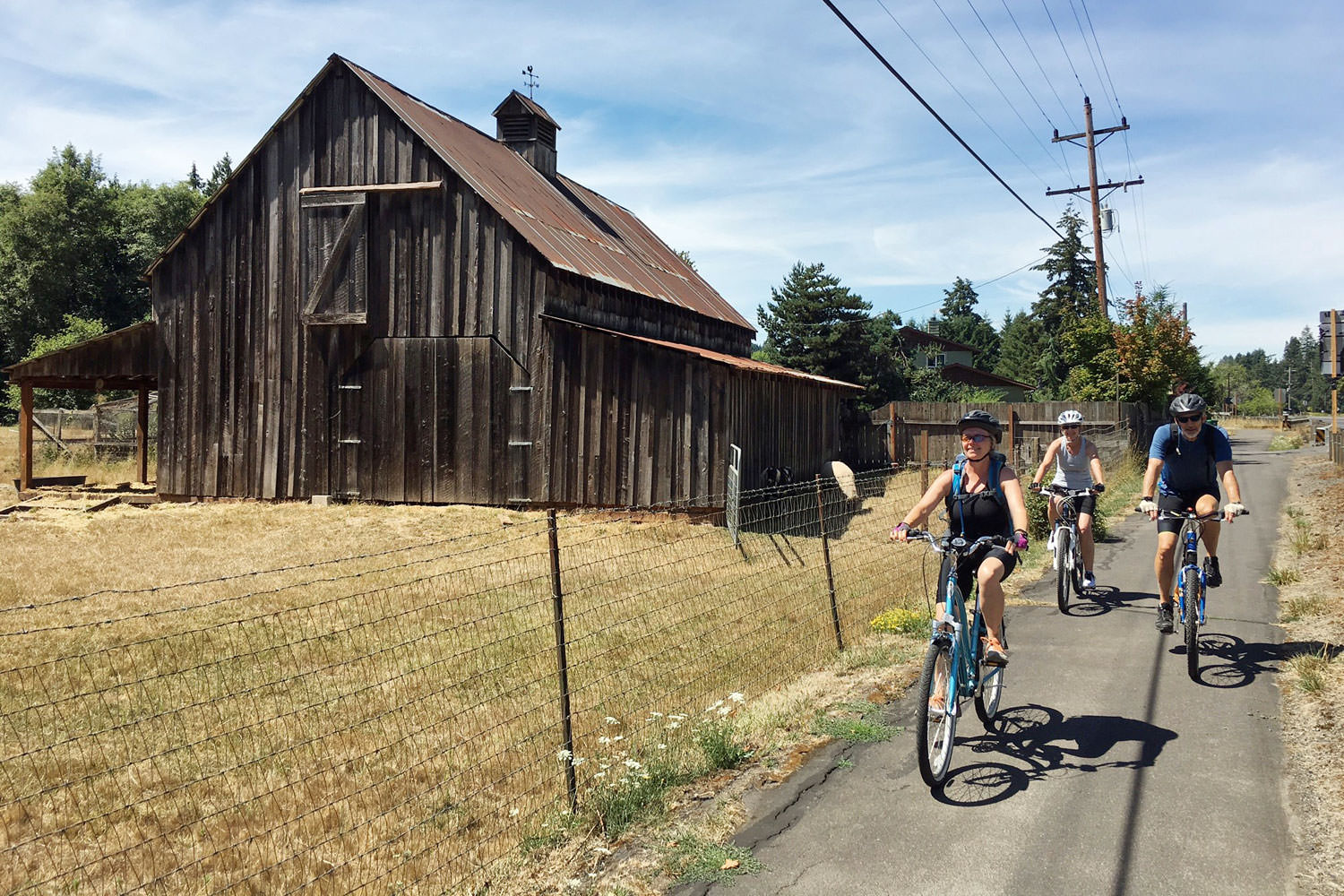 Three cyclists pedal down a paved path past an old wooden farmhouse.