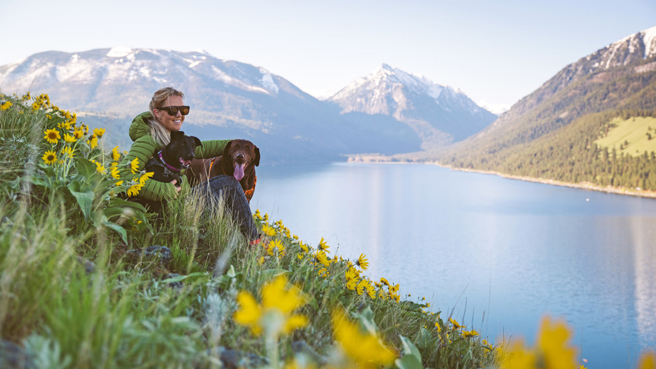 A woman and her dog sit on a slope of blooming wildflowers overlooking a mountain lake
