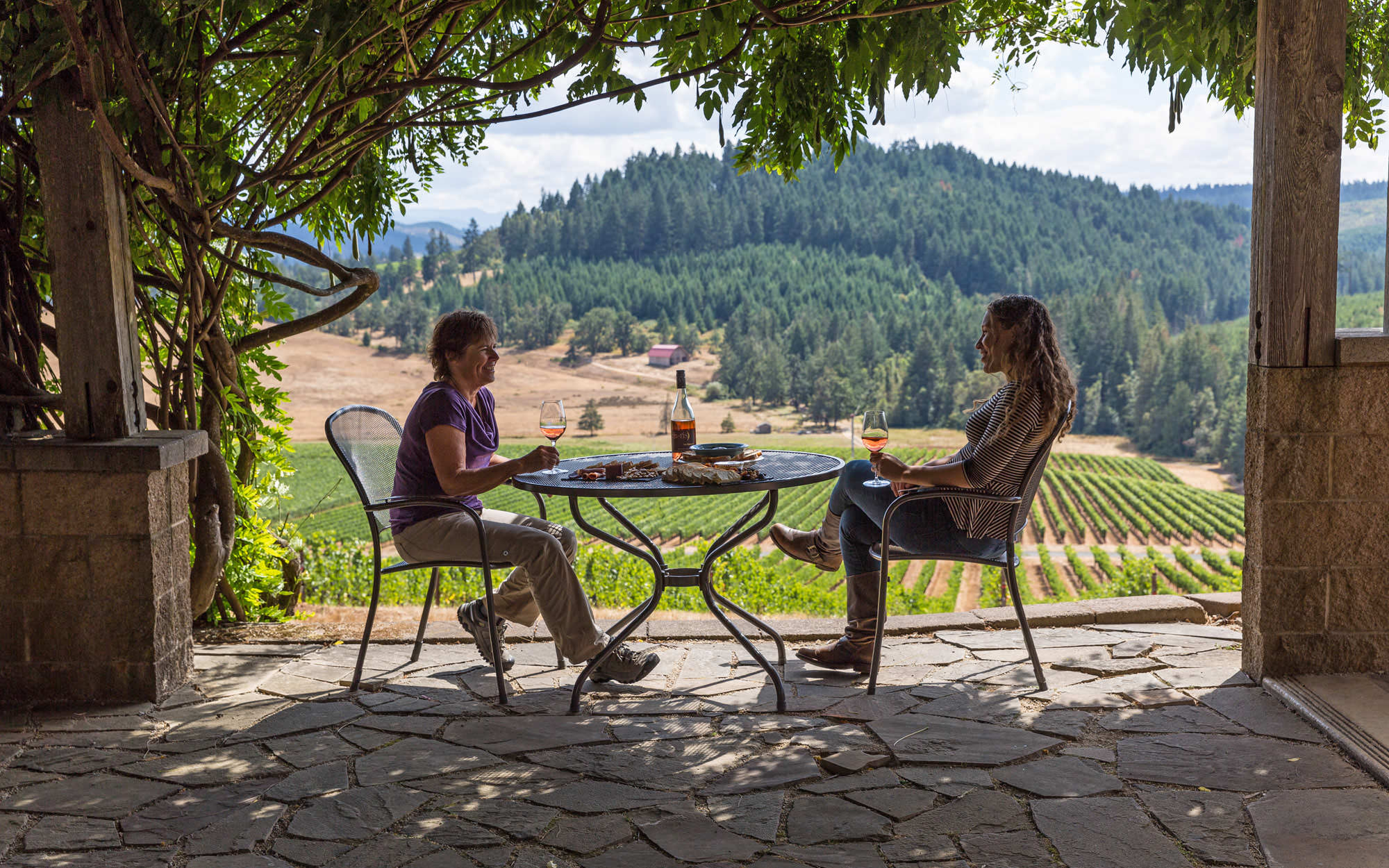 Two women enjoy a wine tasting and charcuterie board in a shaded stone patio overlooking Iris Vineyards.