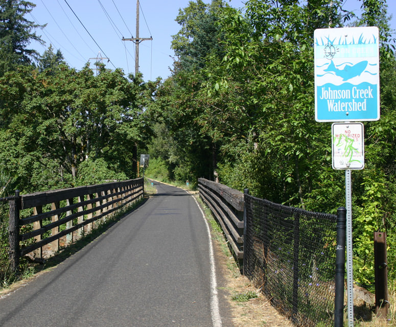 View of bridge on Trolley Trail Loop bicycling route