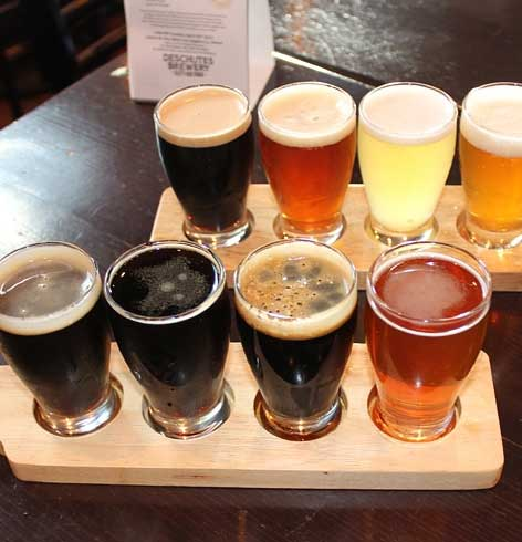 A taster tray at Deschutes Brewery