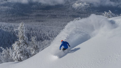 Forrest Devore surfs down the backside of Summit. Photo credit: Mt. Bachelor