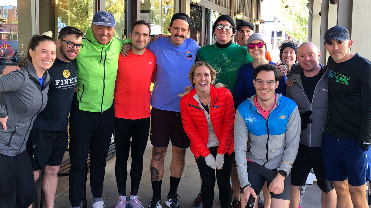 Portland runners smile for the camera.