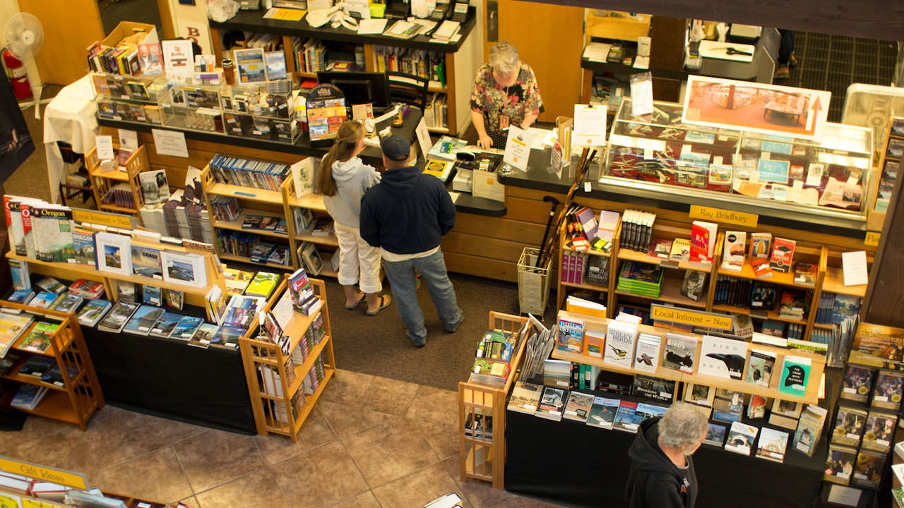 An overhead view of a bookstore.