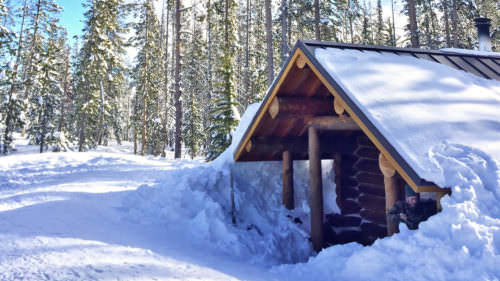 Cross-country skiing and snowshoeing can be a serious workout; the warming hut at Swampy Lakes Sno-Park is a lovely stopping point. (Photo by: Lauren Hunziker)