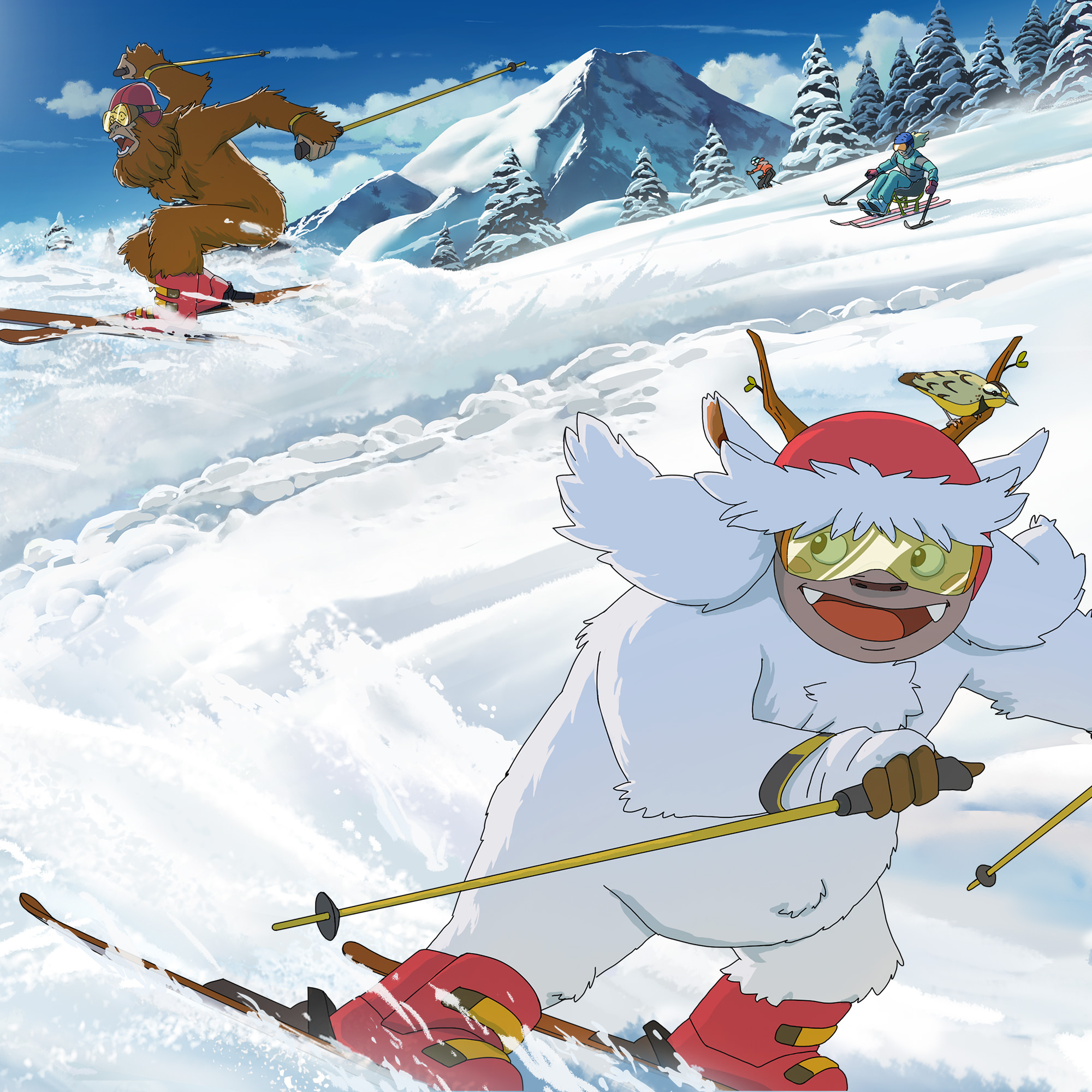 Illustration of Yeti & Squatch skiing down Mt. Bachelor with an adaptive skier right behind them.
