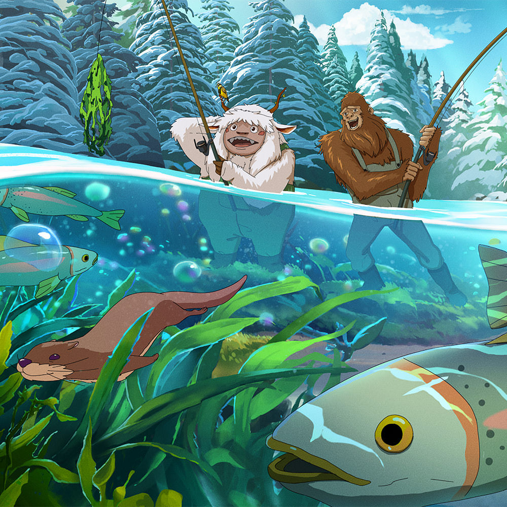 Illustration of Yeti & Squatch fishing with otters and fish underwater