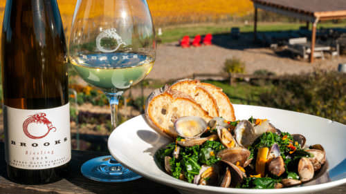 The friendly and knowledgable staff at Brooks Wine and other tasting rooms throughout the Willamette Valley will help you with the perfect pairing.