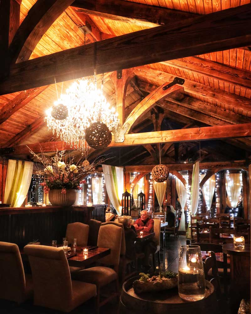 Mood lighting makes the interior of Parrot House romantic.