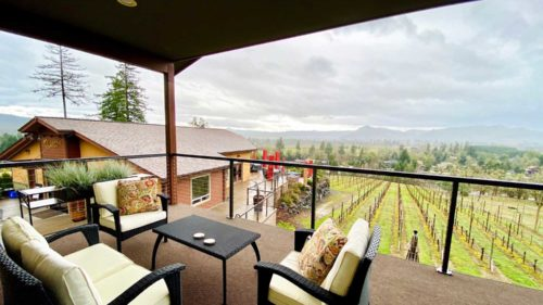 The private balcony at Cooper Ridge Vineyard's guest house affords one-of-a-kind views.
