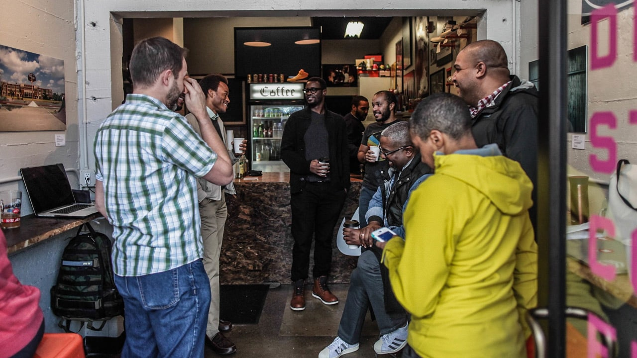 People gathering at coffee shop in Portland