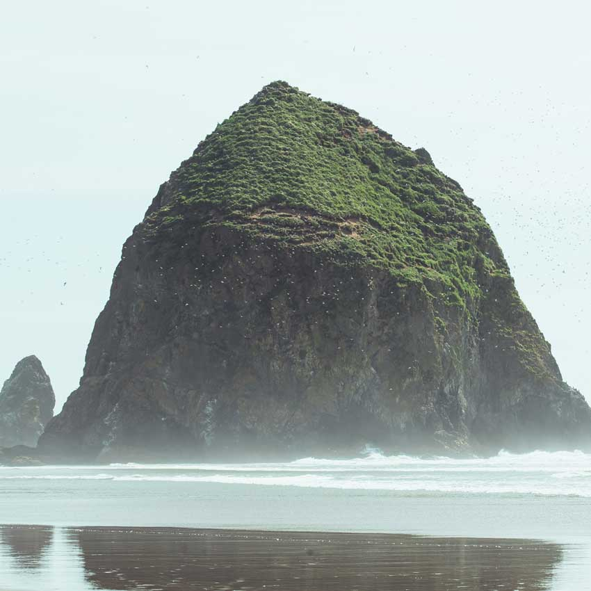 A misty day at Cannon Beach with low tide in front of Haystack Rock.
