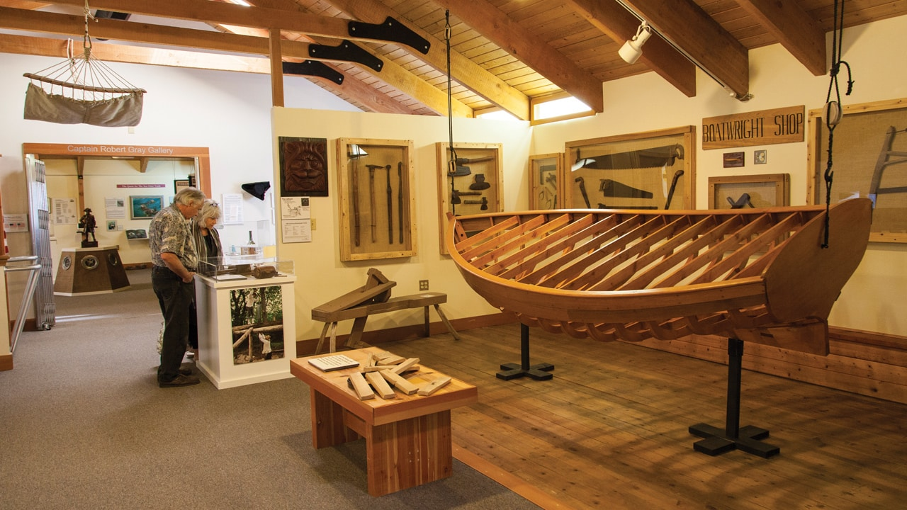 Wooden ship on display at maritime museum